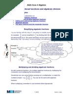 Rational Functions & Algebraic Division