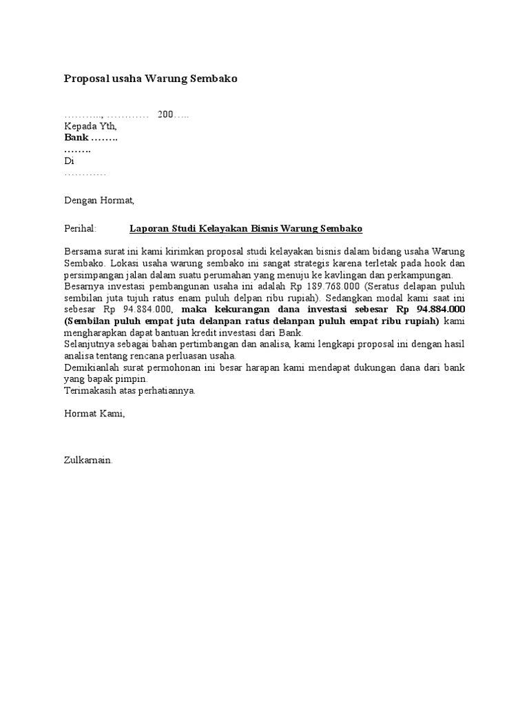 Proposal Usaha Warung Sembako