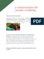Causas y Consecuencias Del Acoso Escolar o Bullying