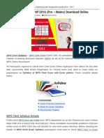 IBPS Clerk Syllabus PDF 2016 (Pre - Mains) Download Online