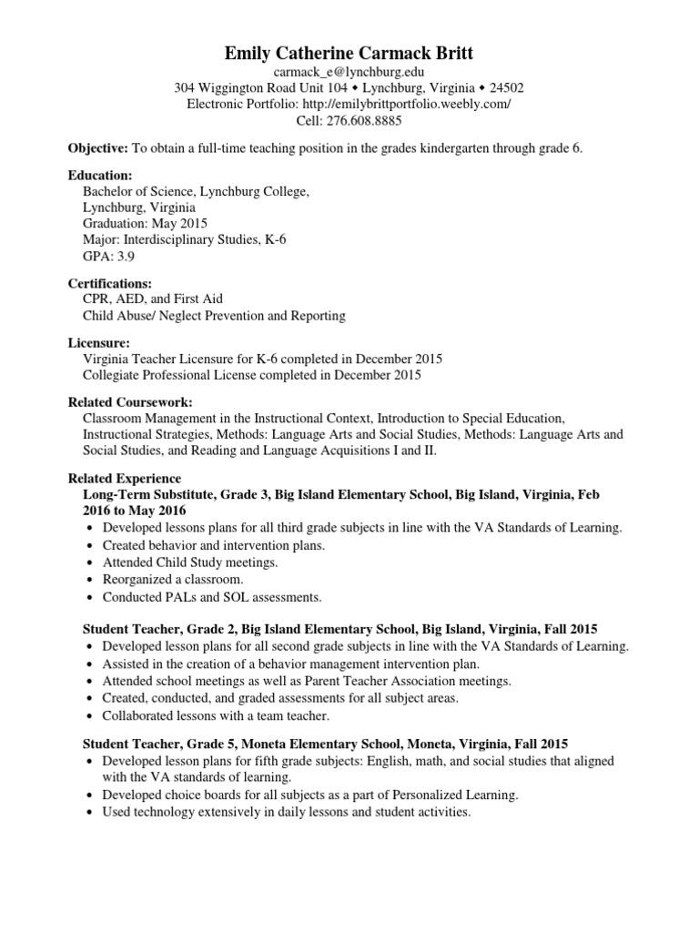 Resume Emily Britt Teachers Lesson Plan