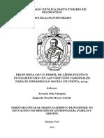 PROPUESTA DE UN PERFIL DE LÍDER POLÍTICO FUNDAMENTADO EN LAS VIRTUDES CARDINALES PARA EL DESARROLLO SOCIAL DE CHOTA, 2014.