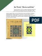 Study of the Arabic Word Mutuwaffika
