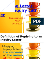 Reply to an Inquiry Letter