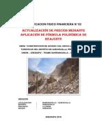 Informe técnico de adicional de obra por actualización de precios mediante formula polinómica.