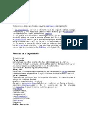 Importancia Y Tecnica De Organizacion Teoría Ciencia