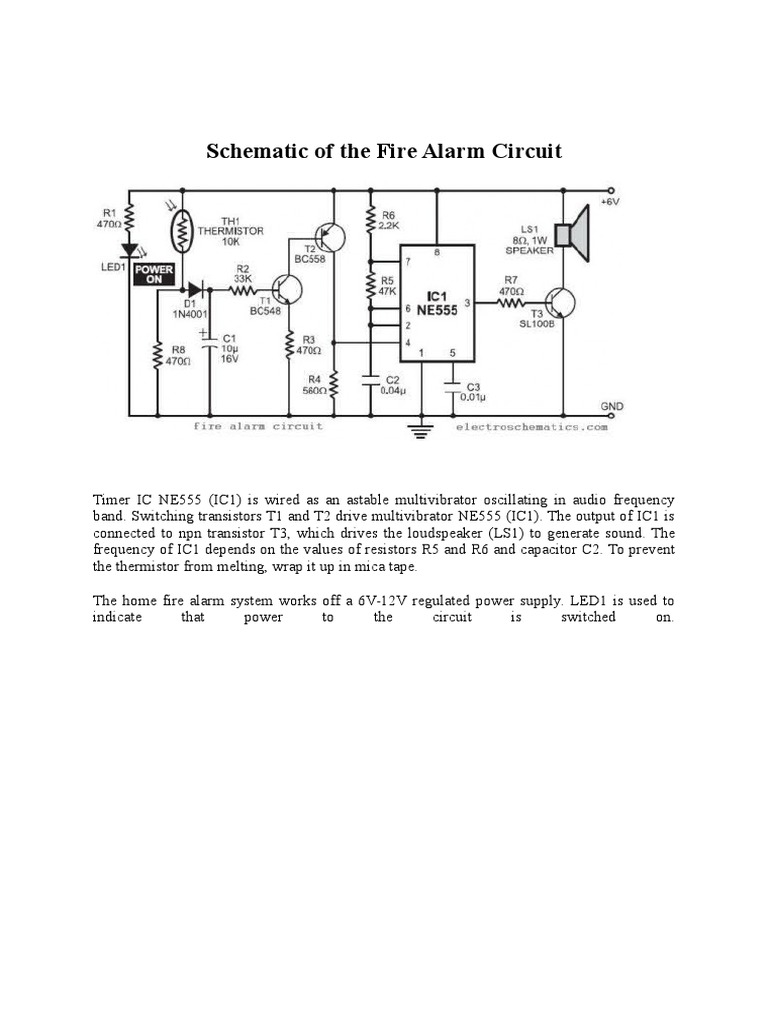 In This Fire Alarm Circuit Project Relay Electronic Circuits Binary Counter Diagram Using Ic 555 Timer