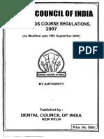 BDS Course Regulation 2007 Alongwith Amendments