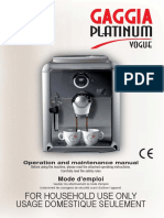 Gaggia Vogue Platinum User's Manual
