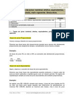 Taxas de Juros Nominal, Efetiva, Equivalentes,