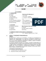 Silabo de Resistencia de Materiales I 2015-II