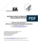National Health Service Corps Scholarship Application and Program Guidance| School Year 2010-2011| DHHS HRSA