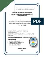 Analisis Ley de Transparencia y Acceso a la  Informacion Pública - Perú