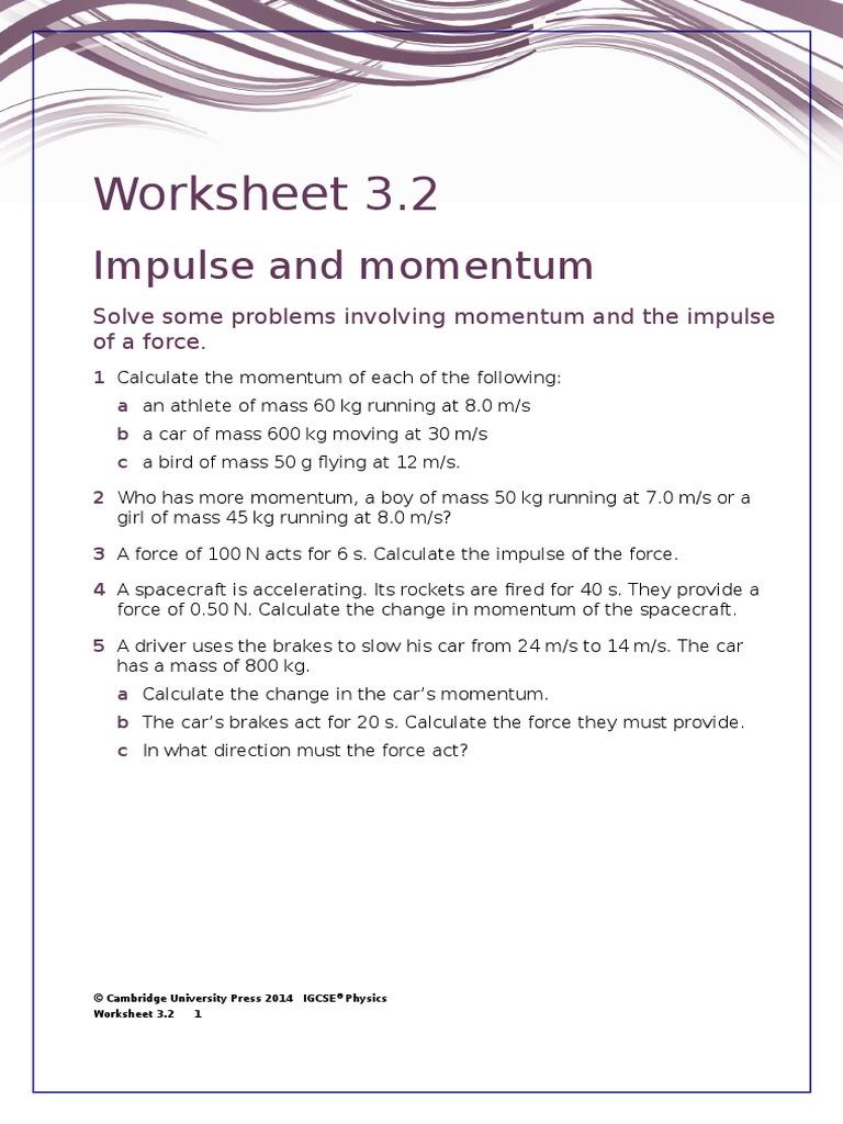 IGCSE Physics Worksheet 32 – Calculating Momentum Worksheet