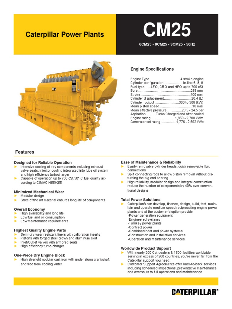 Hoja Tecnica Caterpillar Cm25 50 Hz Cylinder Engine Turbocharger Cat Diagram Of