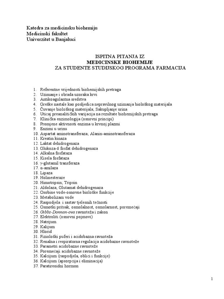 Ispitna Pitanja Iz Medicinske Biohemije Za Studente Farmacije