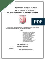 """""""Evaluacion Nutricional de Pacientes Entre 25-40 Años de Edad Del Centro de Salud de Huachipa"""""""