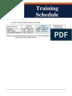 Training Schedule 2016 -17