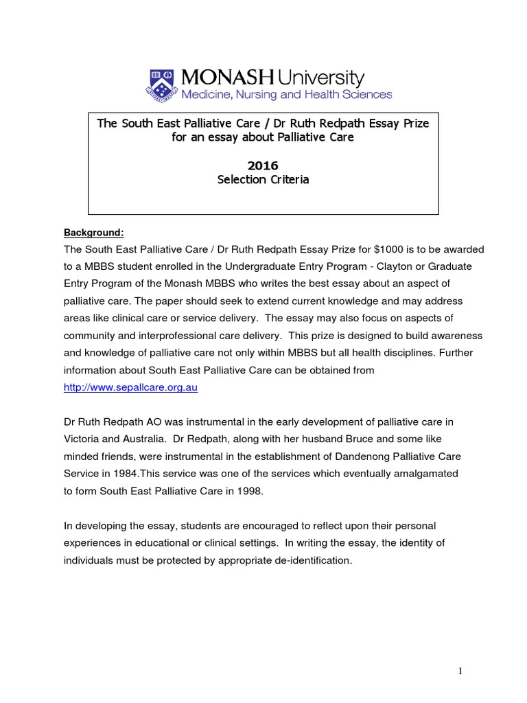 south eastern pall care dr ruth redpath prize criteria south eastern pall care dr ruth redpath prize criteria application form 2016 essays palliative care