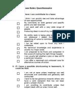 Team Roles Questionnaire