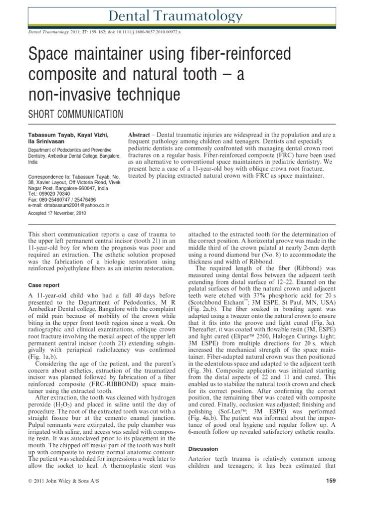 Space Maintainer Using Fiber Composite Dental Implant Dentures