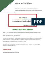 SBI PO 2016 Pattern and Syllabus