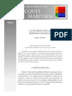 La Sociedad de Las Personas Humanas-Maritain