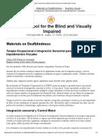 Terapia Ocupacional e Integración Sensorial Para Los Impedimentos Visuales