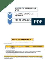 UNIDAD DE APRENDIZAJE N° 02  2° GRADO ED. PRIMARIA ABRIL 2016