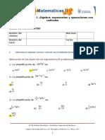 MII-U2- Actividad 1. Álgebra Exponentes y Operaciones Con Radicales