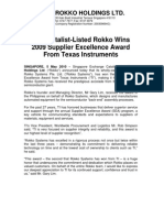 SGX Catalist-Listed Rokko Wins 2009 Supplier Excellence Award From Texas Instruments