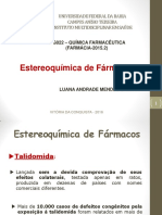 2. Aula - Estereoquímica de Fármacos - Parte I