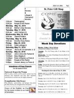 St. Peter the Apostle Bulletin 5-15-16