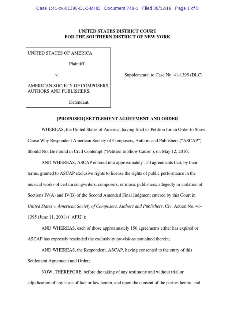 Ascap Proposed Order Settlement Litigation Board Of Directors