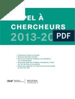 Appel Chercheurs 2013-14