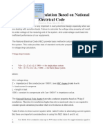 Voltage Drop Calculation Based on National Electrical Code