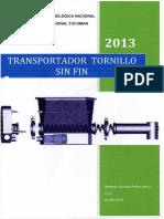 Transportador Por Tornillo Sin Fin