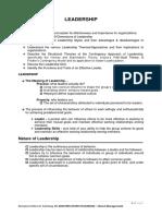 Leadership Written Report