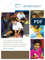 foundations for learning relationships between the early years learning framework and the australian curriculum