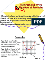 8.2 Graph and Write Equations of Parabolas
