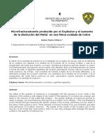 Microfracturamiento Por Explosivo y Aumento Disolución Metal en Mena Oxidada Cobre
