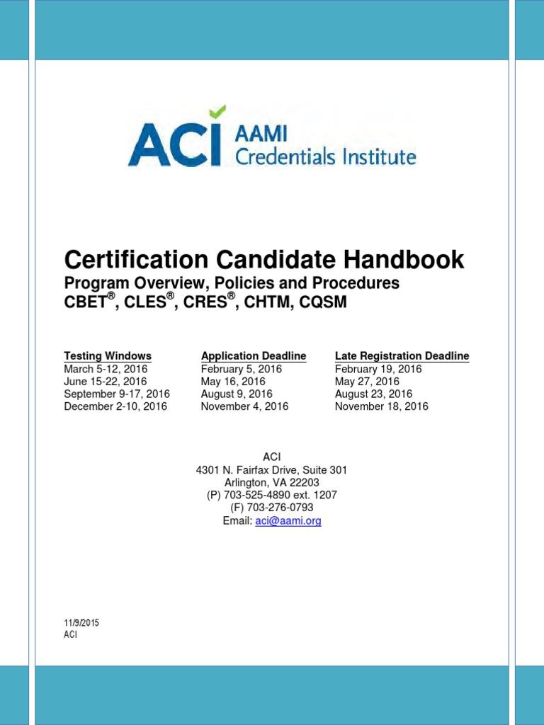 Certification Candidate Handbook | Biomedical Engineering | Professional  Certification