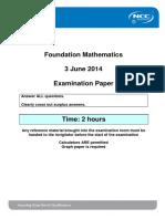 Foundation Maths-Exam Paper-June 2014 - Final FPB