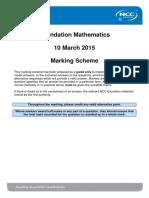 Foundation Mathematics March 2015 Marking Scheme - Final