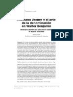Hermann Usener y El Arte de La Denominacion en Benjamin