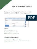 Cara Buat Daftar Isi Ototmatis Di Ms Word 2007