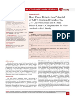 Root Canal Disinfection Potential of 5.25% Sodium Hypochlorite, 2% Chlorhexidine and 810nm Diode Laser-A Comparative In vitro Antimicrobial Study