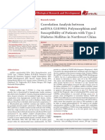 Correlation Analysis between mtDNA G10398A Polymorphism and Susceptibility of Patients with Type 2 Diabetes Mellitus in Northwest China