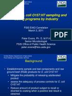 Design of E. Coli O157H7 Sampling Programs by Industry