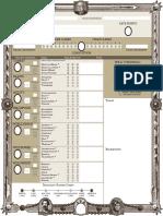 Character sheet for zweihander grim & perilous rpg